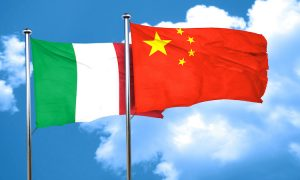 Italy Flag With China Flag, 3D Rendering